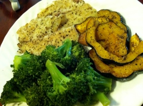 Tilapia, squash and broccoli