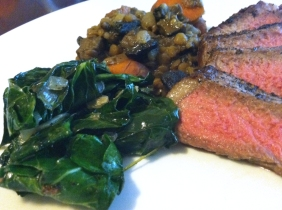Steak, lentils & greens