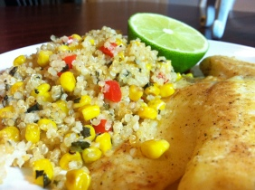 Chile-lime tilapia & corn-lime quinoa salad