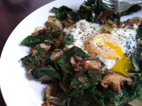 Eggs with Sauteed Chard & Mushrooms