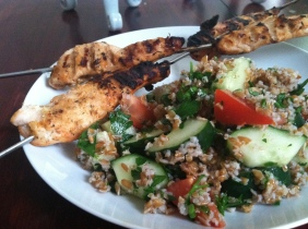 Grilled Chicken Skewers & Tabbouli